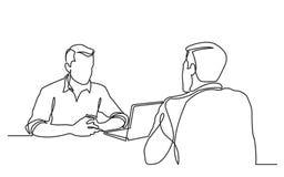 Fortlöpande linje teckning av jobbintervjun mellan två män stock illustrationer