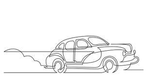 Fortlöpande linje teckning av körning för springa bil för tappning på den dammiga vägen vektor illustrationer