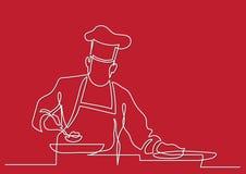 Fortlöpande linje teckning av kocken som förbereder mat royaltyfri illustrationer