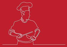 Fortlöpande linje teckning av kocken som vässar kniven stock illustrationer