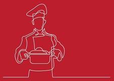 Fortlöpande linje teckning av kockinnehavkrukan av mål royaltyfri illustrationer