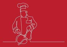 Fortlöpande linje teckning av kockklippkalkon stock illustrationer