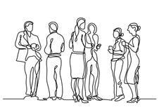 Fortlöpande linje teckning av kontorspartiet royaltyfri illustrationer