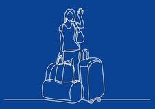 Fortlöpande linje teckning av kvinnahandelsresandeanseendet med att vinka för påsar vektor illustrationer