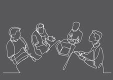 Fortlöpande linje teckning av lagdiskussionen royaltyfri illustrationer