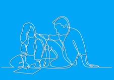 Fortlöpande linje teckning av mannen och kvinnan som sitter på golvet som diskuterar plan vektor illustrationer