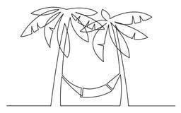 Fortlöpande linje teckning av palmträd och hängmattan stock illustrationer