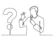 Fortlöpande linje teckning av presentatören som talar om en fråga stock illustrationer