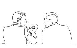 Fortlöpande linje teckning av samtal för två män vektor illustrationer