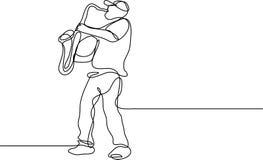 Fortlöpande linje teckning av saxofonspelaren stock illustrationer
