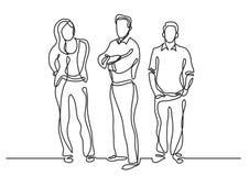 Fortlöpande linje teckning av stående gruppmedlemmar vektor illustrationer