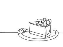 Fortlöpande linje teckning av styckkakan royaltyfri illustrationer
