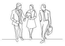 Fortlöpande linje teckning av tre affärsprofessionell som går samtal vektor illustrationer