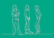 Fortlöpande linje teckning av tre stående kvinnor vektor illustrationer