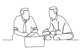 Fortlöpande linje teckning av två affärsmän som sitter och talar stock illustrationer