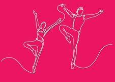 Fortlöpande linje teckning av två balettdansörer stock illustrationer