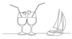 Fortlöpande linje teckning av två coctaildrinkar och segelbåt vektor illustrationer