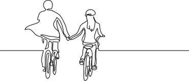 Fortlöpande linje teckning av två cyklister vektor illustrationer