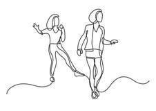Fortlöpande linje teckning av två flickor som har gyckel royaltyfri illustrationer
