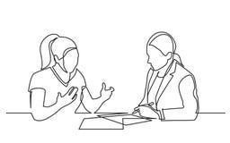 Fortlöpande linje teckning av två kvinnor som diskuterar underteckna skrivbordsarbeten stock illustrationer