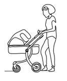 Fortlöpande linje teckning En linje Kvinna med ett litet barn i en sittvagn som dras av handbilden Linje konst Mamma med en behan royaltyfri illustrationer
