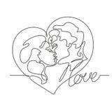 Fortlöpande linje teckning - ett par av kyssar älska mankvinna Hjärta Förälskelse valentin för form för korthjärtaförälskelse vek vektor illustrationer