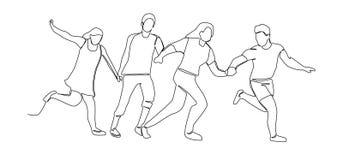 Fortlöpande linje teckning som kör lyckligt folk En linje teckenkonturman och kvinna royaltyfri illustrationer