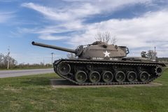 FORTleonard HOUT, 29 MO-APRIL, 2018: Algemeen Sherman Medium Tank M4A3E8 stock fotografie