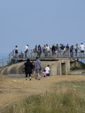 Fortleva observation bunkra på Pointen du Hoc, Frankrike Arkivbild