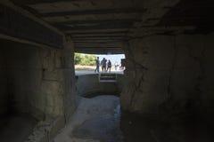 Fortleva observation bunkra på Pointen du Hoc, Frankrike Arkivfoton