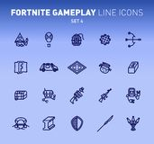 Fortnite epic game play outline icons. Vector illustration of combat military facilities. Linear flat design on blue. Background. Set 4 of icons vector illustration