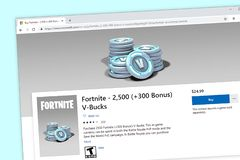 Fortnite-Kaufseite für 2.500 V-Dollars vektor abbildung