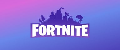 Fortnite Purple Vector Logo Banner On Violet Blue And Pink Gradient Background Editorial Stock Image Illustration Of Cricut Editorial 144436074