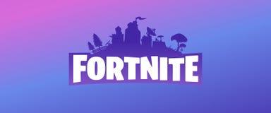 Fortnite purple vector logo banner on violet blue and pink gradient background. Fortnite logo.Fortnite Online Game Editorial white Vector Illustration on royalty free illustration