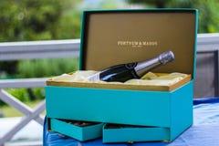 Fortnum And Mason Bottle On Blue Box royalty free stock photography