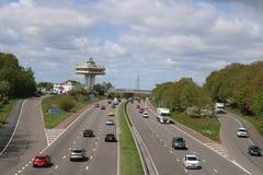 Forton-Dienstleistungen Lancashire Autobahn des Verkehrs M6 lizenzfreies stockbild