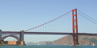 Fortpunt en Golden gate bridge Stock Foto's