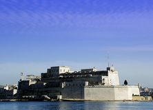Fortress. Medieval fortrees in harbour, Malta stock image