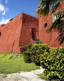 Fortress. Red old fortress with trees in Nassau Bahamas Stock Photos