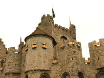Fortress. Medieval fortress  and fortifications in Gent Stock Photos