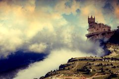 Fortress. Against the expressive sky and clouds Royalty Free Stock Photography