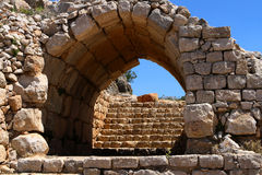Fortress. Arches in the Nimrod fortress in Israel Stock Image