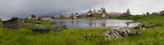 Fortress. Panoramic view of fortress on Solovki islands in White sea, Russia Royalty Free Stock Photos