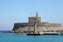 Fortress Agios Nikolaos on the harbor of Rhodes Stock Photo