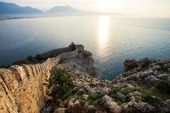 Fortress of Alanya. Amazing ancient fortress of Alanya town in Turkey stock image