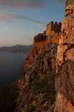 Fortress in Alanya at sunset time Stock Photos