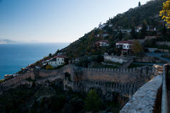 Fortress in Alanya at sunset time Royalty Free Stock Image