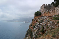Fortress Alanya, Turkey. Beach, sea Mediterranean Royalty Free Stock Photography