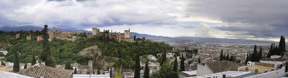 The fortress of the Alhambra overlooking Granada Royalty Free Stock Image
