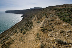 Fortress along the coast. Looking down towards the Fort outside of Sagres, in the Algarve, Portugal Stock Image